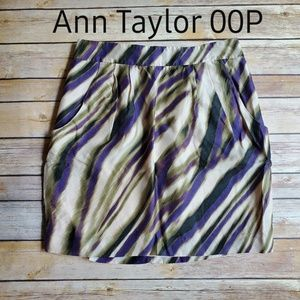 Ann Taylor Skirt Purple Tan 00P Front Pocket Strip